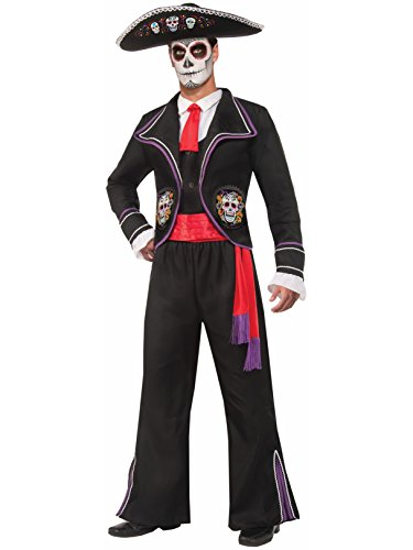 Forum Novelties Men's Day Of Dead Mariachi Macabre Costume, Black, Standard -