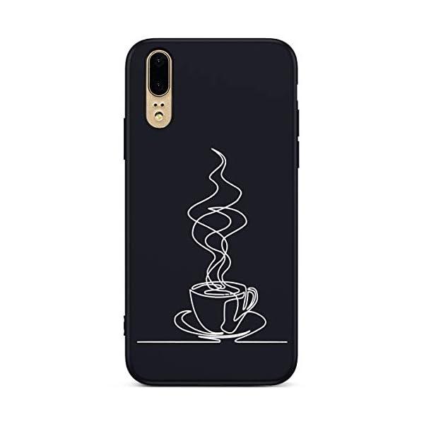 Robinsoni Cover Compatible con Huawei P20 Case Flessibile Nera Custodia in Gomma Antiurto Caso Modello Semplice Silicone… 2 spesavip