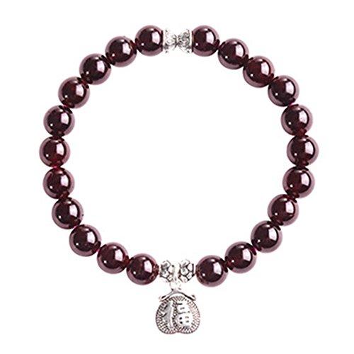 iSTONE 7mm Genuine Wine Red Natural Garnet Gemstone Round Bead Stretch Bracelet 7''