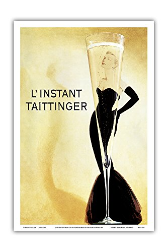 Pacifica Island Art L'Instant Taittinger (The Taittinger Moment) - Champagne Advertisement - Grace Kelly - Vintage Advertising Poster by Claude Taittinger c.1988 - Master Art Print - 12in x ()