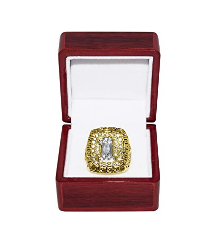 FLORIDA STATE UNIVERSITY (Clifton Abraham) 1993 BCS NATIONAL CHAMPIONS (Orange Bowl Champs) FSU Collectible Replica Gold Football Championship Ring with Cherrywood Display ()