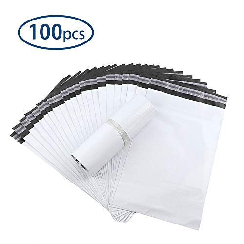 (Beautyu Glossy White Poly Mailers Shipping Envelopes Bags Self Sealing 2 Mil Thick,Waterproof and Tear-Proof Postal Bags 100 Bags 10