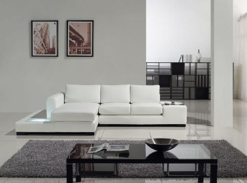 T35-Mini White Bonded Leather Sectional With Light (Vig Sectional)
