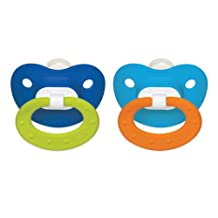 NUK Classic Silicone BPA Free Fashion Pacifier, Size 2, 2-Pack, Colors May Vary