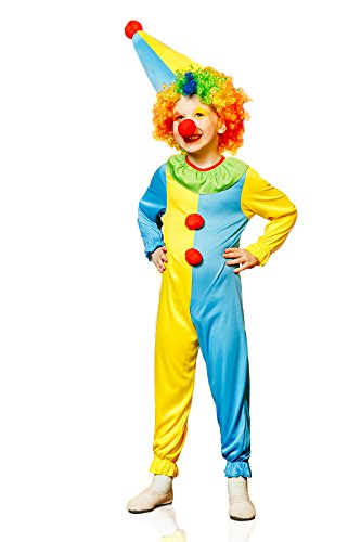 Kids Boys Funny Clown Costume Big Top Circus Suit Jumpsuit Entertainer Dress Up (6-8 years, Yellow/Blue)