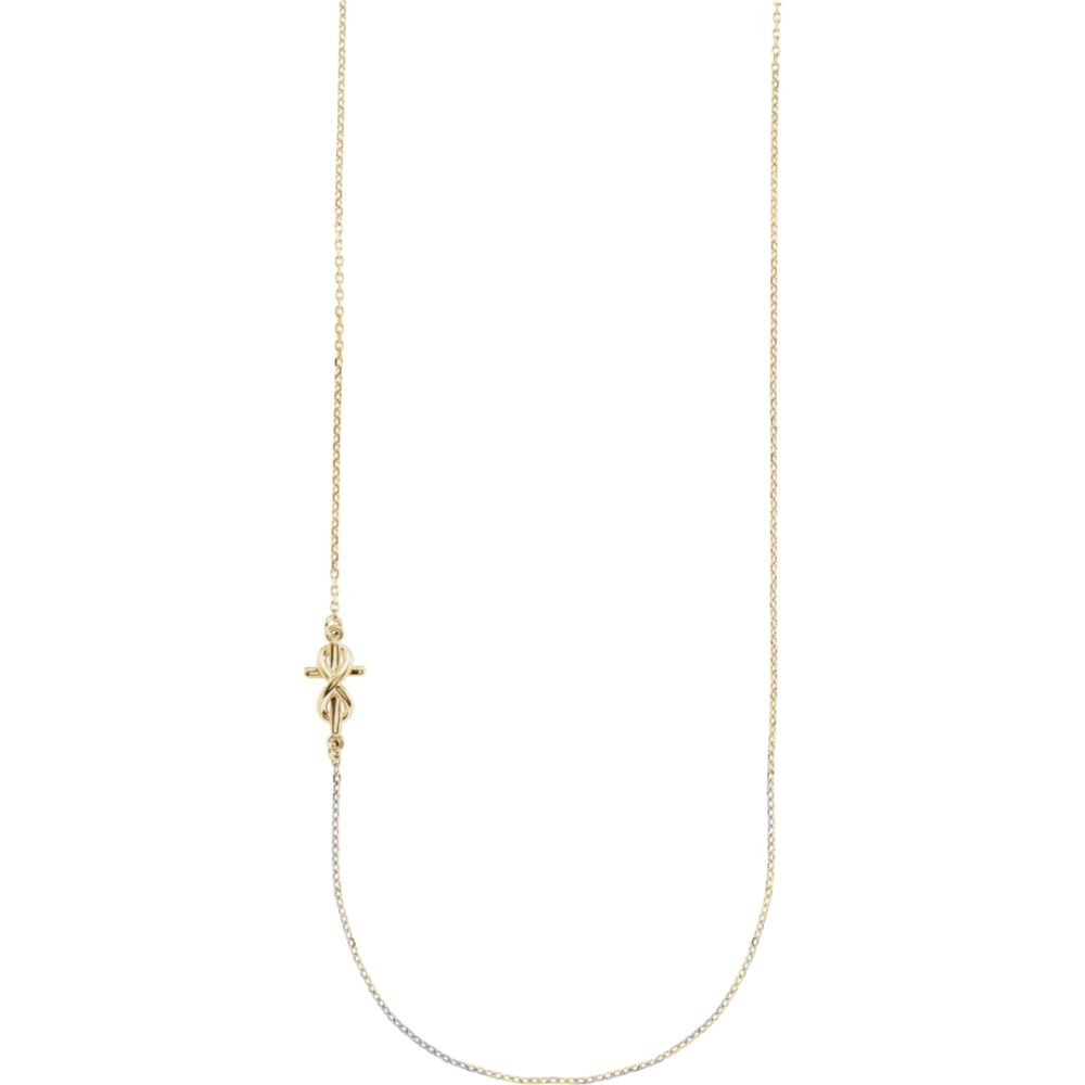 14K Yellow Gold Infinity-Inspired Off-Center Sideways Cross Necklace