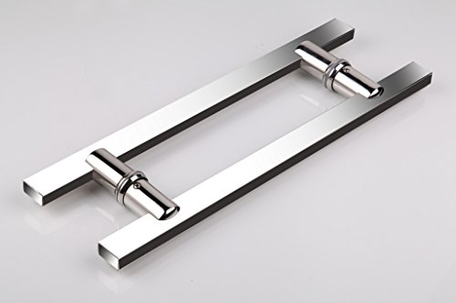 TOGU TG-6017 12 inches Length Square/Rectangle H-Shape Heavy-Duty Stainless Steel 304 Push Pull Door Handle/Barn Door Pull Handle/Glass Pulls, Mirror Polished Chrome Finish