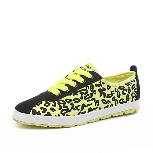Zapatos de lona de corte bajo de leopardo verano/Zapatillas deportivas de fondo plano/Colores fluorescentes y zapatos del ocio A