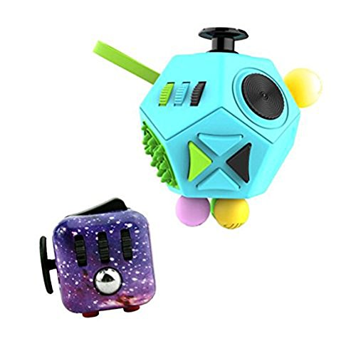 Eaguem fidget spinner and fidget cube 2 Pcs Relieve Stress Anxiety Fidget II and Fidget I Toys Set (A Blue starry sky)