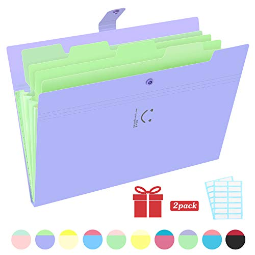 Phyxin Expanding File Folders 5 Pockets Document Organizer A4 Letter Size Plastic File Folder with Lables Document Holder for Business School Supplies Purple ()