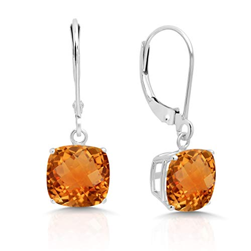 14k White Gold Citrine Dangle Leverback Earrings (8mm)