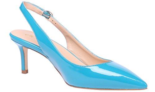 Slingback AOOAR Elegante Damen Türkis Lackleder Kitten Heel Pumps nbsp;Schuhe naqzAxn