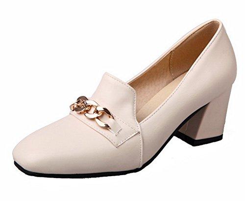 VogueZone009 Damen Quadratisch Zehe Mittler Absatz PU Rein Pumps Schuhe Cremefarben