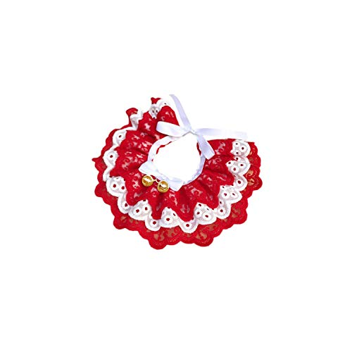 (Cute Three-Layer Lace Bowknot Small Bell Pet Collar Bib Dog Cat Necklace Decor Home Pet Fashion Neck Collar,Red,XL)
