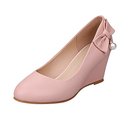 Latasa Joliment Bow & Perle Mi-talon Casual Wedge Pompes Chaussures Rose