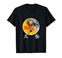 """Tai Chi (Tai Ji Quan) martial art China kung fu style tee shirt. The flame sun and cold moon form the Taiji Chuan symbol. The bagua (Chinese, literally:""""eight symbols"""") are eight trigrams used in daoist cosmology to represent the fundamental principl..."""