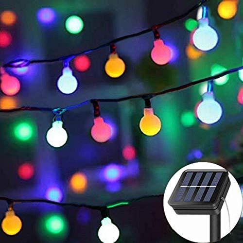 Solar String Lights Garden, 8 Modes 50 LED Globe String Lights Outdoor Solar Powered Fairy Lights Waterproof Mini Ball Decorative Light for Garden Patio Yard Home Wedding Party (Multi Color)