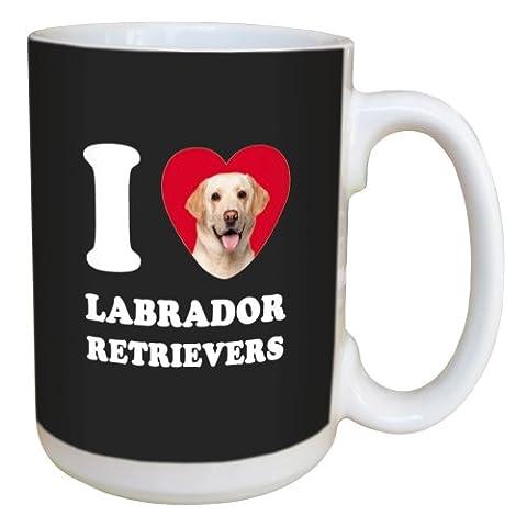 Tree Free Greetings LM45076 I Heart Labrador Retrievers Ceramic Mug with Full-Sized Handle, 15-Ounce, - Labrador Coffee