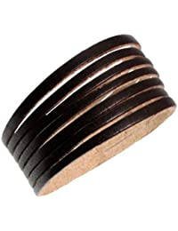 Hip Multi Strand Brown Leather Wide Cuff Bracelet Fits Men, Women, Unisex Jewelry