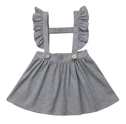 Baby Girls Suspender Skirt Sleeveless Ruffle Brace Dress Toddler Casual Strap Overall Dress Solid Jumper Dress