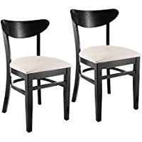 Beechwood Mountain BSD-007S-B -CR Solid Beech Wood Kitchen and Dining Side Chairs in Black with Cream Upholstered Seat, Set of 2