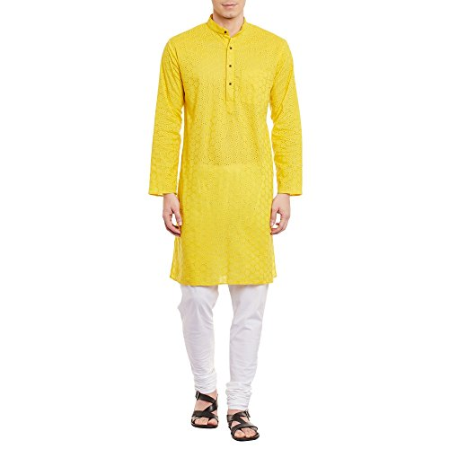 ShalinIndia Mens Embroidered Cutwork Cotton Kurta Machine Embroidery, Yellow Chest Size: 42 Inch (Set Embroidered Mens Travel)