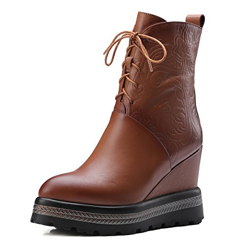 Ladies Sexy Zipper Wedges Genuine Leather Ankle Women Boots Brown