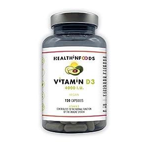 Vitamines D3 – Aliments diététiques – Dosage élevé : 4000 UI de vitamine D3 + – Renforcez votre système immunitaire- BPF…