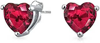 Bling Jewelry 925 Sterling Silver Simulated Ruby CZ Heart Stud Earrings