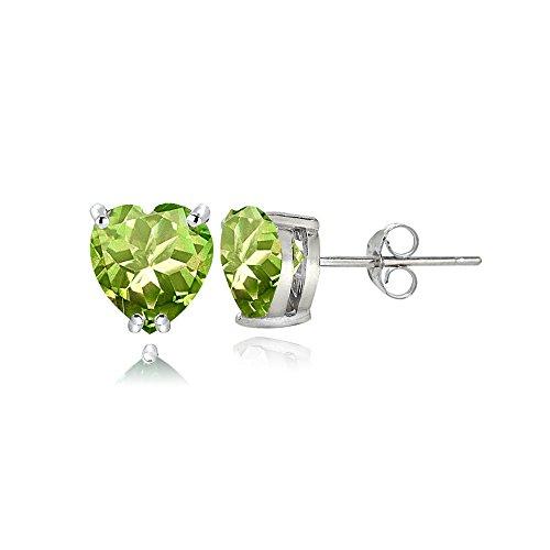 Sterling Silver Peridot 5mm Heart Stud Earrings