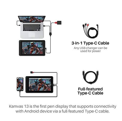 HUION Grafiktablett mit Display Kamvas 13, 13,3-Zoll-Volllaminatbildschirm, 8 programmierbare Drucktasten, unterstützt die Konnektivität mit Android-Geräten ohne Ständer