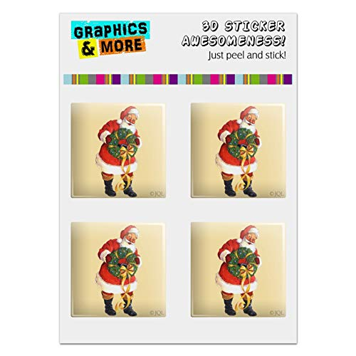 GRAPHICS & MORE Christmas Holiday Santa Holding Wreath Computer Case Modding Badge Emblem Resin-Topped 1
