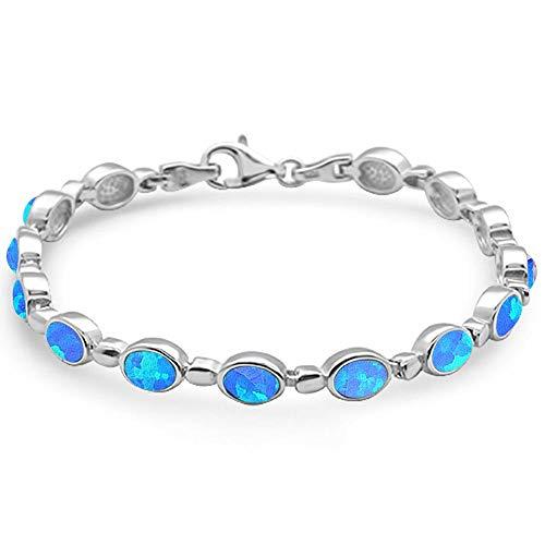 (Oxford Diamond Co Oval Shape Blue Opal .925 Sterling Silver Bracelet)