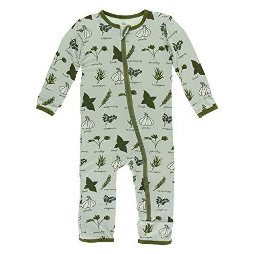 Kickee Pants Little Boys Print Coverall with Zipper - Aloe Herbs, 3-6 Months