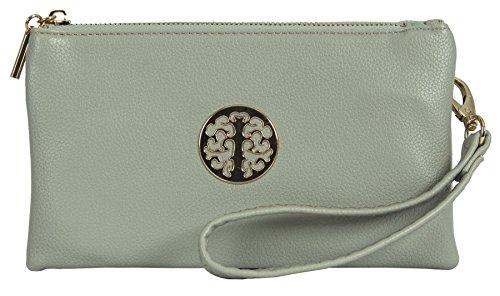 Big Handbag Shop Womens Vegan Leather Pouch Purse Mini Cross Body Shoulder Bag Style 5 - Light Grey