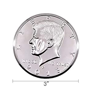 Doowops Jumbo Coin 3 inch Half Dollar Magic Tricks Coin Appear Disappear Magic Close up Accessories Illusion Props Gimmick Comedy