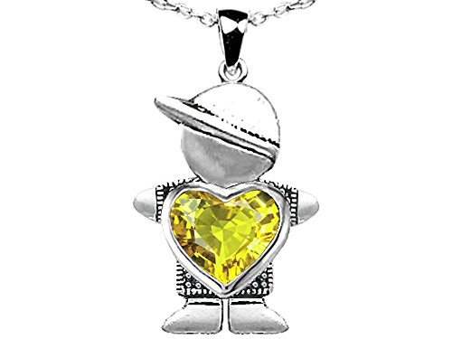 Star K Boy Holding 8mm Mother Heart November Birth Month Pendant Necklace with Simulated Citrine