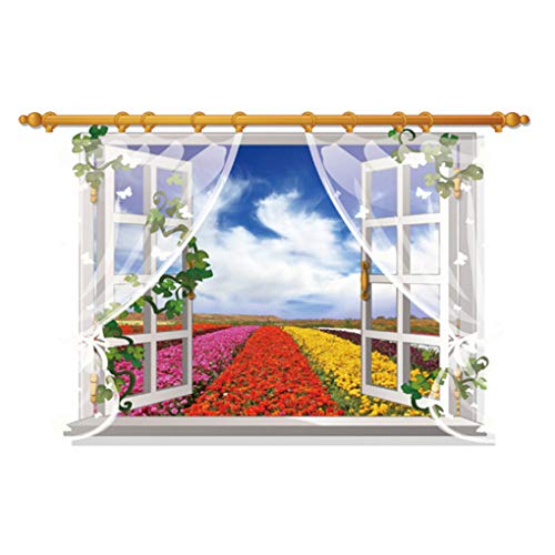 3D Fake Window View Wall Stickers Charm Scenery Animals Removable Wall Decals Home Decor PVC Art Mural Baby Boys Girls Kids Bedroom Kitchen Room Decoration Wall Sticker Posters (Flower View) - Poster Window Translucent