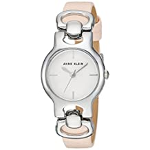 Anne Klein Women's AK/2631SVLP Silver-Tone and Light Pink Leather Strap Watch