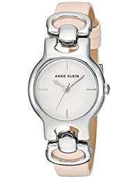Anne Klein Women's AK/2631SVLP Strap Watch, Silver-Tone and Light Pink Leather