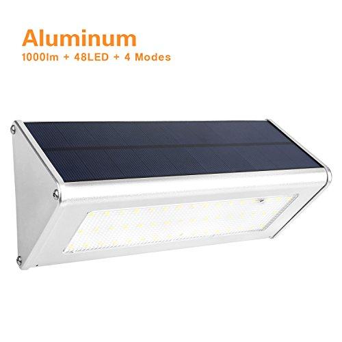 Price comparison product image Solar Lights,  Mabor 48 LED 1000 Lumens Outdoor Radar Motion Sensor Solar Lamp with 4 Intelligent Modes,  IP65 Waterproof Aluminum Alloy Housing