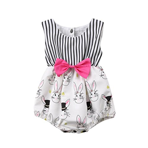 Kehen Newborn Baby Girls Easter Clothes Sleeveless Jumpsuit Romper Playsuit Stripes Rabbit Print Bodysuit Outfits (White, 0-3 Months)