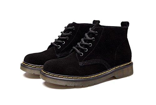 de redonda zapatos suede británico corto para Martin mujer bajo estilo de Botas fondo tubo mujer black botas plano encaje botas cabeza ayudar pOqtfRwx