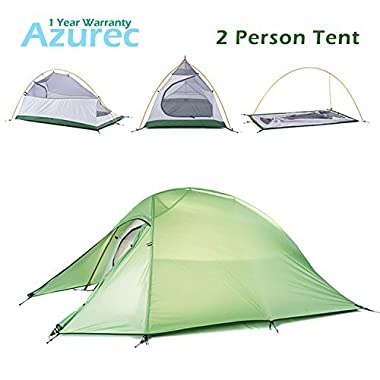 Azurec 1-2-3 Person 4 Season Lightweight Waterproof Double Layer Backpacking Tent for Camping Hiking (Green - 2 Person)
