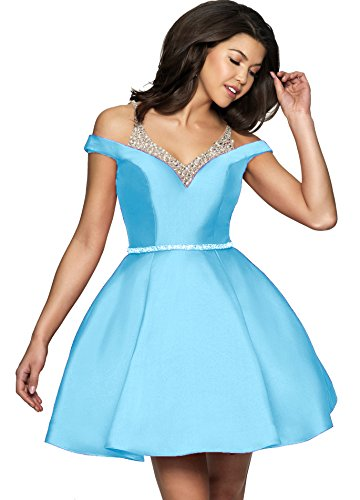 Homecoming The Junior's Dresses Short Dress 2019 Shoulder J85 Blue Off Beaded Prom Satin SqW545tFr8
