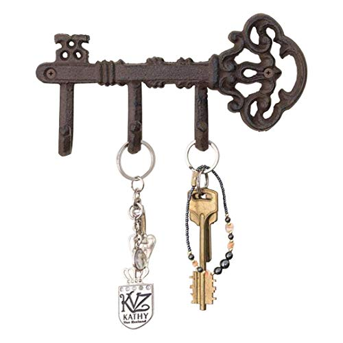 Decorative Wall Mounted Skeleton Key Holder | Vintage Key with 3 Hooks | Wall Mounted | Rustic Cast Iron | 7.9 x 4.1