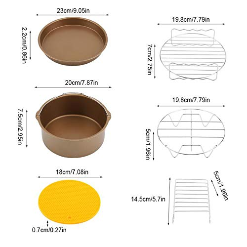 9Pcs/Set Air Fryer Accessories Kit Baking Tool Cake Basket Pizza Skewer Rack Fryer Baking Basket Pizza Plate Mat Tools,Gold (Best Air Fryer Uk 2019)