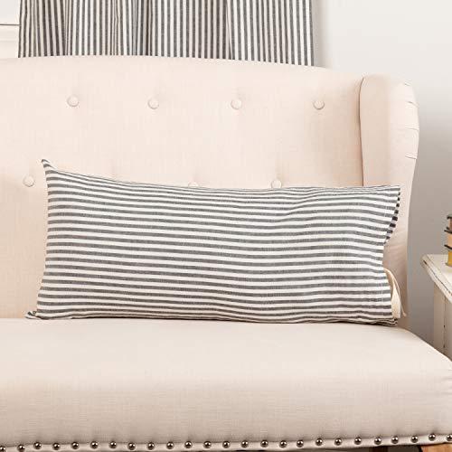 Piper Classics Farmhouse Ticking Stripe Gray Throw Pillow Cover w/Tie, 12