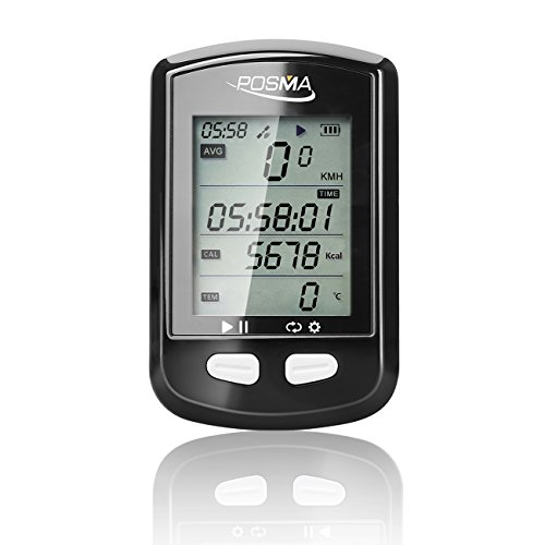 POSMA DB2 Bluetooth GPS Cycling Bike Computer Speedometer Odometer Altimeter Calories Heart Rate Cadence Temperature Route Tracking ANT+, Support Strava, BLE4.0 Smartphone, iPhone Android APP (Best Bike Odometer App)