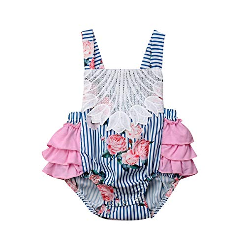 Listogether Summer Newborn Kids Baby Girls Cute Stripe Tassels Romper Bodysuit Jumpsuit Clothes Outfits (18-24 Months, Blue) - Girls Infant One Outfit Piece